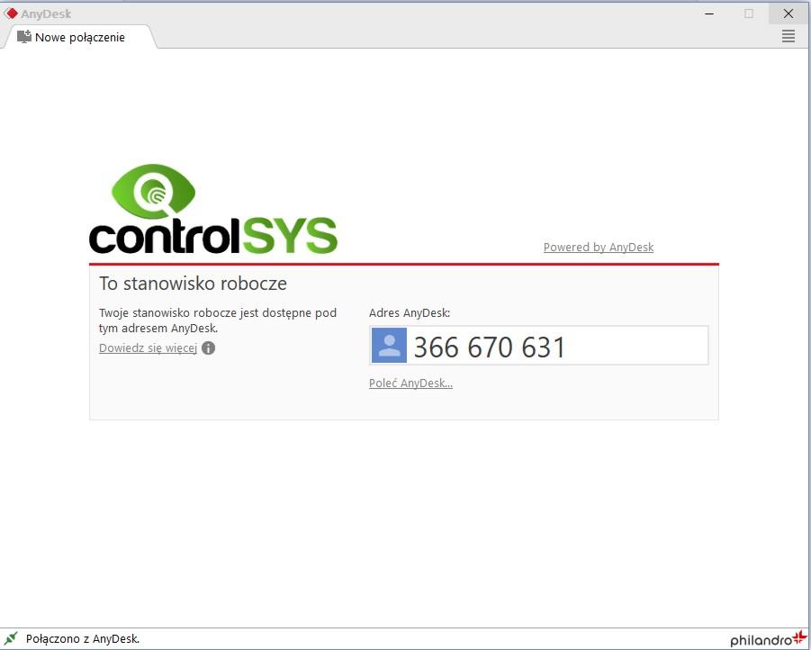 AnyDesk ControlSYS - nawiązywanie połączenia